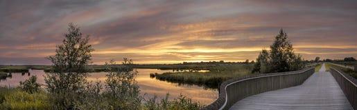 Onlanden sunset. Sunset at Matsloot in the Onlanden area near Groningen Stock Photo