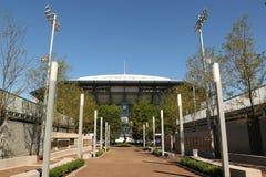 Onlangs beter Arthur Ashe Stadium met gebeëindigd intrekbaar dak in Billie Jean King National Tennis Center klaar voor US Open royalty-vrije stock afbeelding