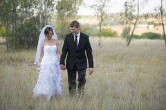 Onlangs echtpaar in natuurlijk openluchtmilieu stock fotografie