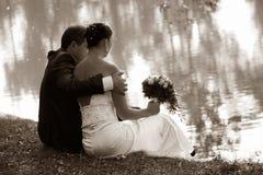 Onlangs gehuwd paar Royalty-vrije Stock Afbeelding