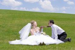 Onlangs-gehuwd paarspel met band Royalty-vrije Stock Foto