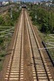 Onlangs gelegde sporen van de spoorweg van Berlijn stock fotografie