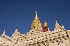 Onlangs vernieuwd Ananda Temple in Oude Bagan, Myanmar Royalty-vrije Stock Afbeelding