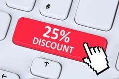 25% onli för försäljning för kupong för kupong för tjugofem procent rabattknapp royaltyfria foton