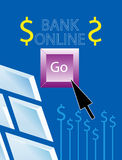 Online. Banking concept  around dollar Royalty Free Stock Images