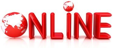 Online 3d illustratie met bol Stock Fotografie