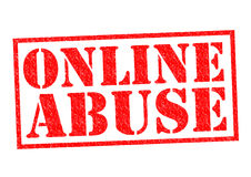 ONLINE ABUSE. Red Rubber Stamp over a white background Stock Photography