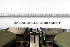 Online access agreement Stock Image