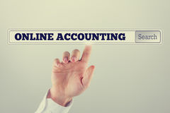 Online accounting written in the search bar of a virtual screen Royalty Free Stock Image