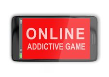 Online Addictive Game concept. 3D illustration of ONLINE ADDICTIVE GAME title on cellular screen, isolated on white. Communication concept Royalty Free Stock Image