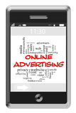 Online Adversiting Word Cloud Concept on Touchscreen Phone Stock Photography