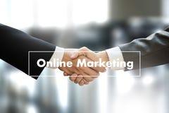 ONLINE ADVERTISING man working on laptop , Online Website Market Royalty Free Stock Images