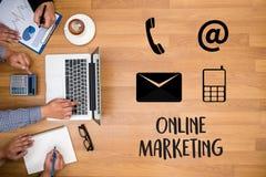 ONLINE ADVERTISING man working on laptop , Online Website Market Stock Image