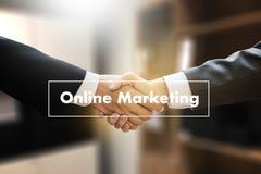 ONLINE ADVERTISING man working on laptop , Online Website Market Royalty Free Stock Photo