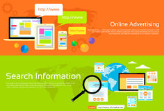 Online Advertising Search Information Banner Set Stock Photos
