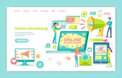 Online Advertising, Smartphone and Laptop Screen stock illustration