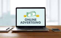 ONLINE ADVERTISING Website Marketing , Update Trends Advertising. Online Business Content Strategy Royalty Free Stock Photography