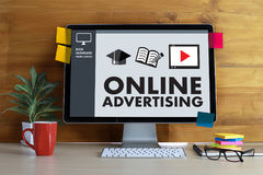 ONLINE ADVERTISING Website Marketing , Update Trends Advertising stock images