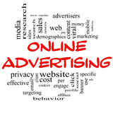 Online Advertising Word Cloud Concept in red & black Stock Images