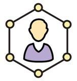 Online-affärsman Isolated Vector med linjen och påfyllningssymbolen royaltyfri illustrationer