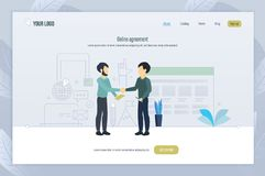 Online agreement. Mutual agreement of decisions, discussion of common issues. Online agreement. Mutual agreement of decisions, discussion of common issues vector illustration