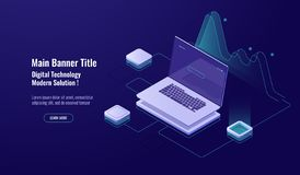 Online Analytics, big data processing, laptop with graph, data visualization, isometric, database access, account sign. In, enter password, dark neon vector royalty free illustration