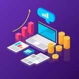 Online-analytics statistik kassa diagram isometriskt stock illustrationer
