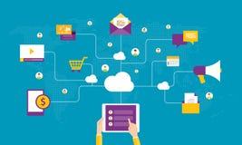 Online-anslutningsbegrepp och affär för plan affär på socialt nätverk Arkivbilder