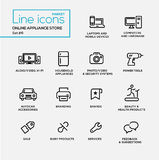 Online appliance store line design pictograms set Royalty Free Stock Image