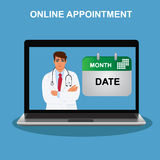 Online appointment, doctor visit, vector illustration Royalty Free Stock Image