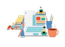 Online artikel die - team van de jonge schrijvers van het beeldverhaalkarakter in creatief proces schrijven vector illustratie