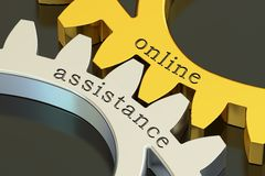 Online Assistance concept on the gearwheels, 3D rendering. Online Assistance concept on the gearwheels, 3D Royalty Free Stock Images