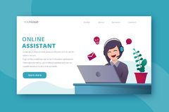 Online assistant landing page vector template stock illustration