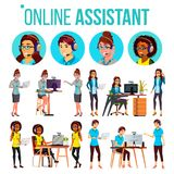 Online Assistant Woman Set Vector. Online Global Tech Support 24 7. Advises Client. Headphone, Headset. Talking. Office. Workers At The Computer. Assistance Stock Images