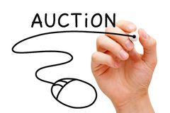 Online Auction Concept. Hand sketching Online Auction Concept with black marker on transparent wipe board Stock Images
