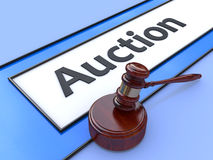 Online auction. Gavel on website marketplace. Conceptual image. Royalty Free Stock Image