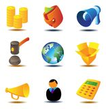Online auction icons. Icons for online auction and e-commerce. Vector illustration Royalty Free Stock Image