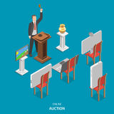 Online auction isometric flat vector concept. Stock Image