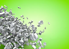 Online audio. 3D render of tumbling online audio icons Stock Image