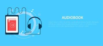 Online audiobook banner. Vector flat illustration Stock Photo