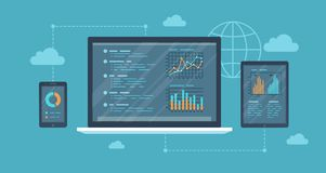 Online auditing, analysis concept. Web and mobile service. Financial reports, charts graphs on screens of a laptop, phone, tablet. Business background banner vector illustration