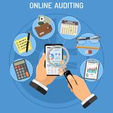 Online Auditing, Tax process, Accounting Concept. Online Auditing, Tax, Accounting Concept. Auditor Holds Smartphone in Hand and Checks Financial Report with Stock Images
