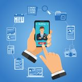 Online Auditing, Tax, Accounting Concept. Online Auditing, Tax process, Business Accounting Infographics. Businessman Holds Smartphone in hand and orders audit Stock Images