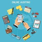 Online Auditing, Tax process, Accounting Concept. Online Auditing, Tax, Accounting Concept. Auditor Holds Smartphone in Hand and Checks Financial Report with Royalty Free Stock Photography