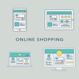 Online-bakgrund för shoppingbegreppsvektor med vektor illustrationer