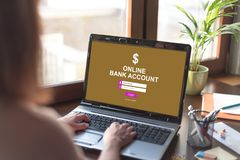 Online bank account concept on a laptop screen. Laptop screen displaying an online bank account concept stock photos