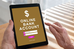 Online bank account concept on a tablet Stock Photos