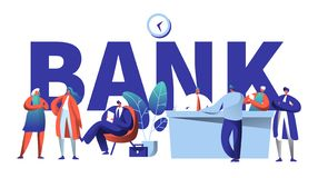 Online Bank Business Character Typography Banner. Safe Investment Deposit Meeting in Fin Tech Startup Office. Banking Customer Waiting in Queue for Poster vector illustration