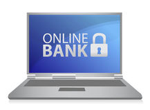 Online bank laptop illustration Stock Photography