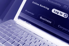 Online banking. Secure online banking electronic menu Stock Photo